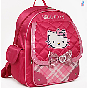 Школьный ранец-рюкзак Sanrio Hello Kitty MA08P (0-3 класс, 15 литр) с тележкой на колесах + сумка для сменной обуви