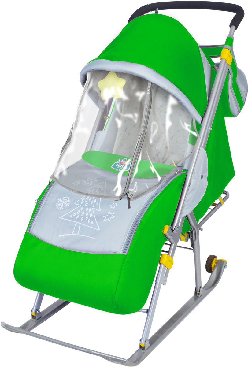 Санки коляска Ника 4 зеленый, - фото 1