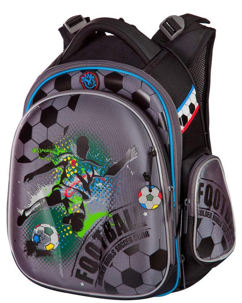 Ранец для первоклассника Hummingbird TK27 Футбол серый с мешком для обуви + пенал, - фото 1