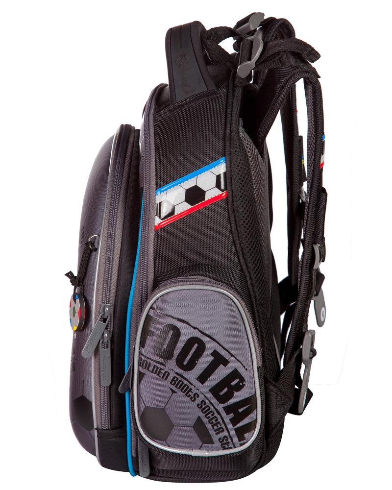 Ранец для первоклассника Hummingbird TK27 Футбол серый с мешком для обуви + пенал, - фото 2